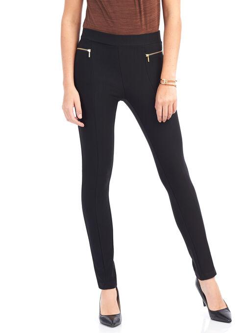 Slim Leg Zipper Trim Pants , Black, hi-res