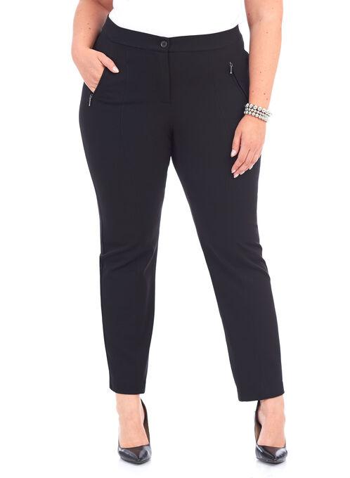 Pintuck Slim Leg Pants, Black, hi-res