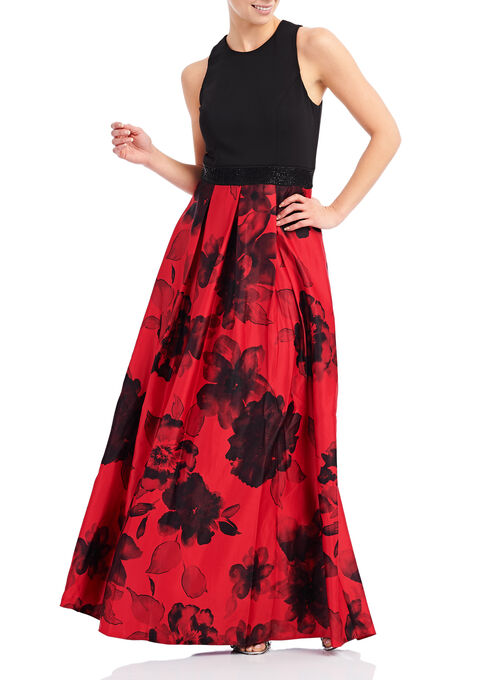 Sleeveless Floral Ball Gown, Black, hi-res
