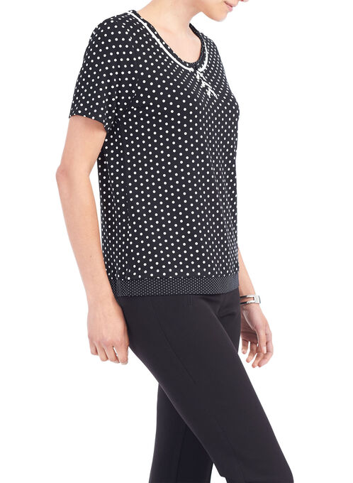 Short Sleeve Lace-Up Neckline Top, Black, hi-res