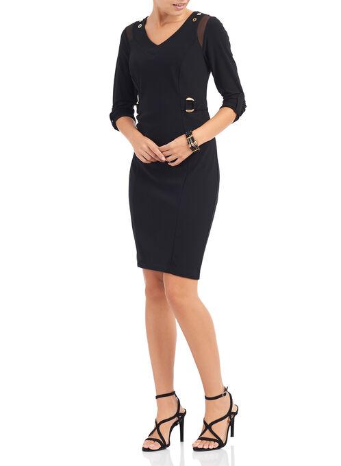 3/4 Sleeve Metal Trim Dress, Black, hi-res