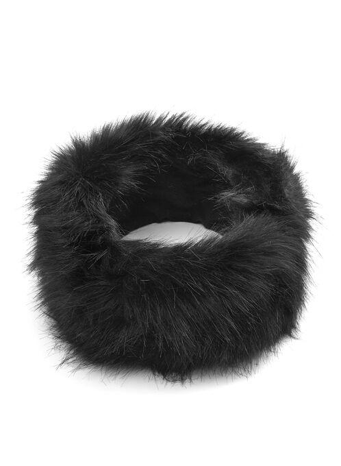 Faux Fur Headband, Black, hi-res