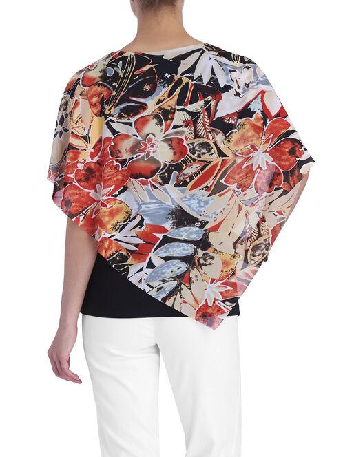 Floral Print Poncho Top, Orange, hi-res