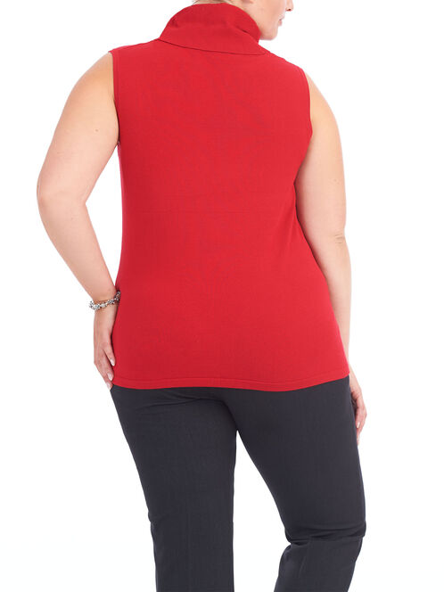 Sleeveless Turtleneck Knit Top , Red, hi-res
