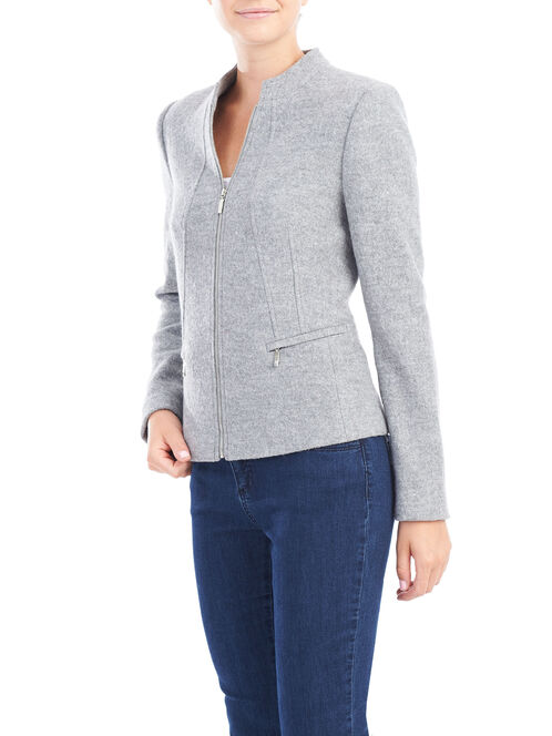 Wool Blend Zipper Detail Jacket, Grey, hi-res