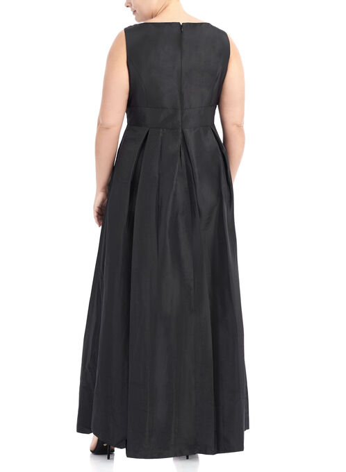Taffeta Pearl Neckline Dress, Black, hi-res