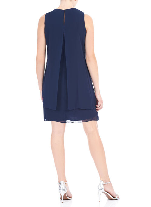 Sleeveless Chiffon Beaded Trim Dress, Blue, hi-res