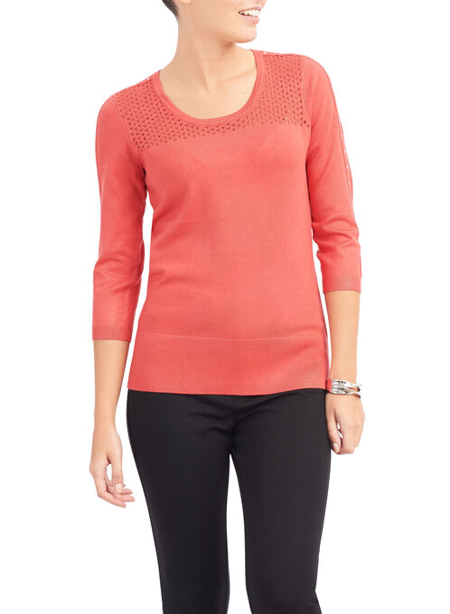 3/4 Sleeve Pointelle Sweater, Orange, hi-res