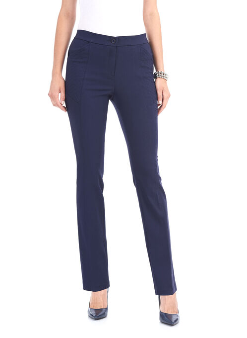 Quilt Pocket Straight Leg Pants, Blue, hi-res
