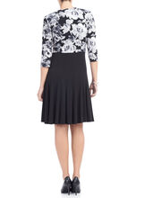 Jersey Fit & Flare Dress with Jacket, Black, hi-res