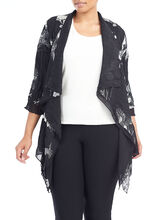 3/4 Sleeve Printed Woven Cover-Up, Black, hi-res
