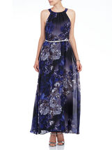 Sleeveless Floral Print Belted Gown, Purple, hi-res