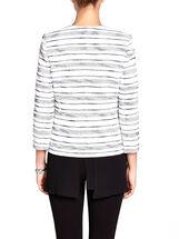 Stripe Print 3/4 Sleeve Corded Jacket, Blue, hi-res