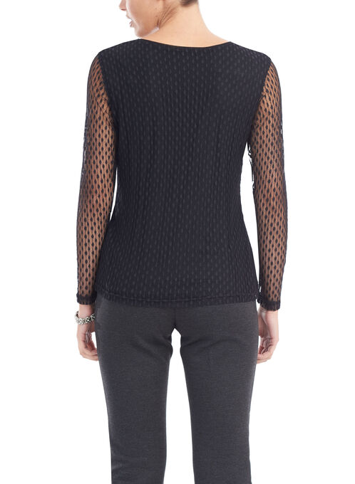 Mesh Lace Dot Print Top, Black, hi-res