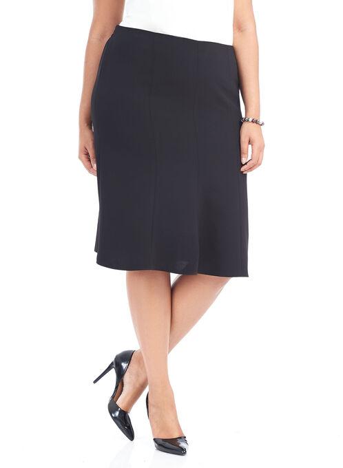 A-Line Solid Knee Length Skirt, Black, hi-res