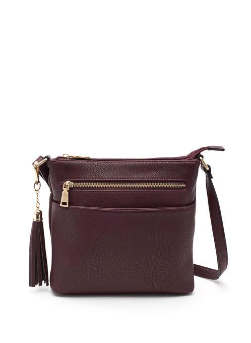 Faux Leather Crossbody Handbag, Brown, hi-res