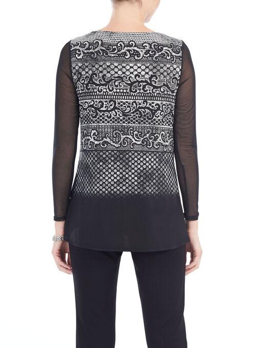 Mesh Sleeve Printed Top, Black, hi-res