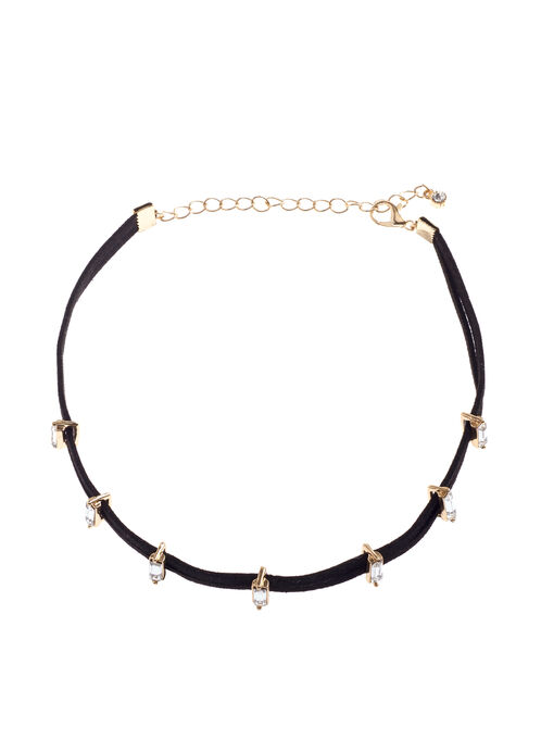 Velvet Crystal Choker Necklace , Gold, hi-res