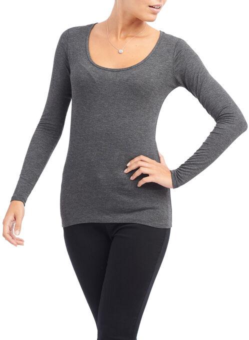 Long Sleeve Scoop Neck T-Shirt, Grey, hi-res