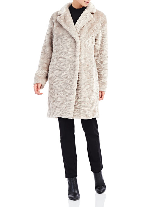 Nuage Grooved Faux Fur Coat, Grey, hi-res