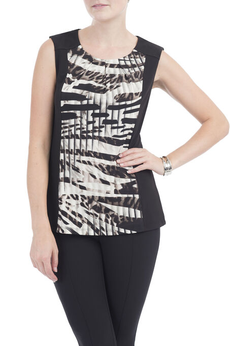 Linea Domani Sleeveless Animal Print Top, White, hi-res