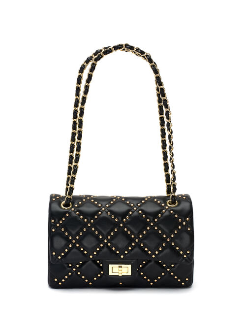 Studded Faux Leather Purse, Black, hi-res