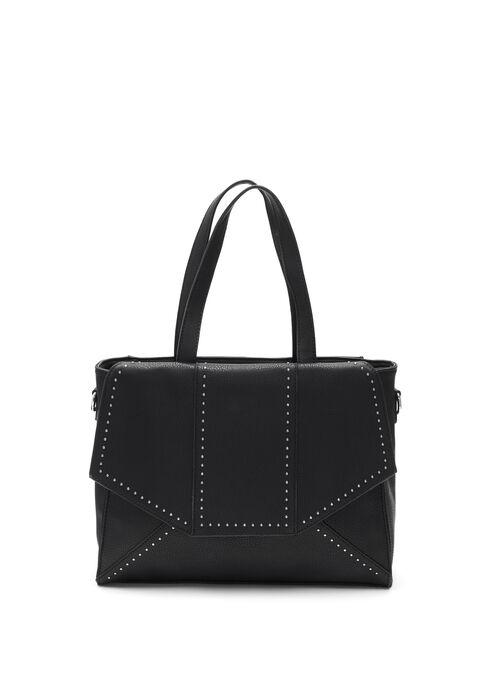 Faux Leather Studded Flap Handbag, Black, hi-res