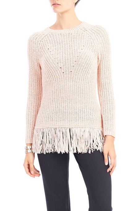 Tape Yarn Fringed Sweater , Pink, hi-res