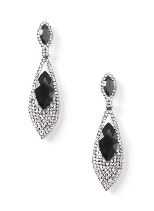 Two-Tier Crystal Earrings, Black, hi-res