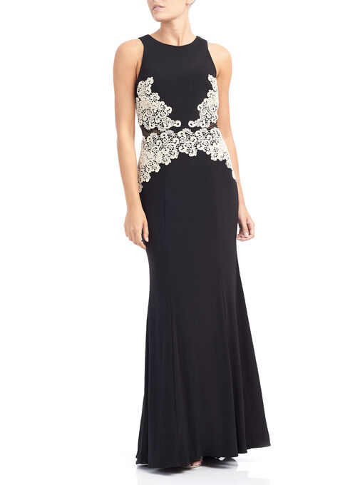 Sleeveless Jersey Lace Gown , Black, hi-res