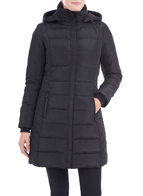 Quilted Down Coat , Black, hi-res