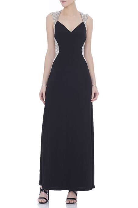 Cachet Beaded Trim Gown , Black, hi-res