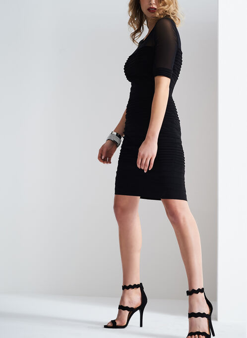 Adrianna Papell 3/4 Sleeve Mesh Dress, Black, hi-res
