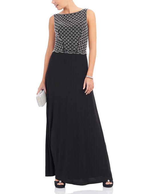 Cachet Beaded Popover Gown , Black, hi-res