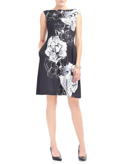 Printed Scuba Fit & Flare Dress, Black, hi-res