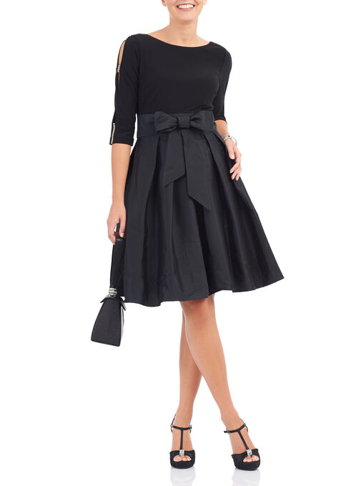 Adrianna Papell Fit & Flare Dress, Black, hi-res