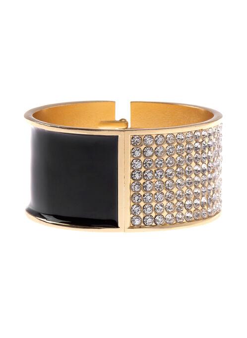 Epoxy & Crystal Bangle Bracelet, Black, hi-res