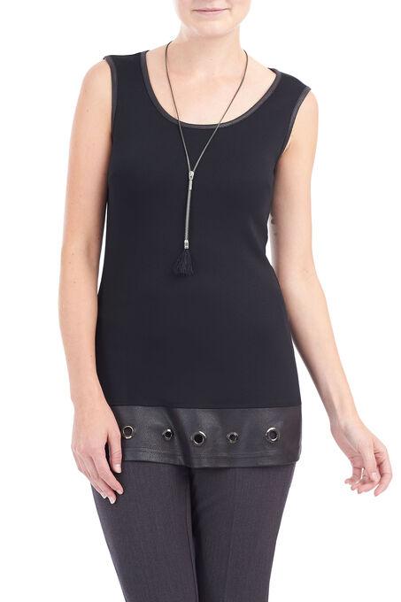 Vex Grommet Detail Tunic Top, Black, hi-res