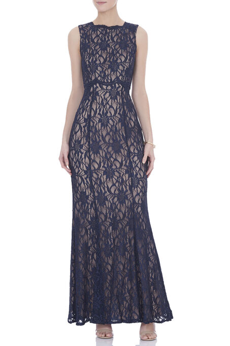 Sleeveless High Neck Lace Gown , Blue, hi-res