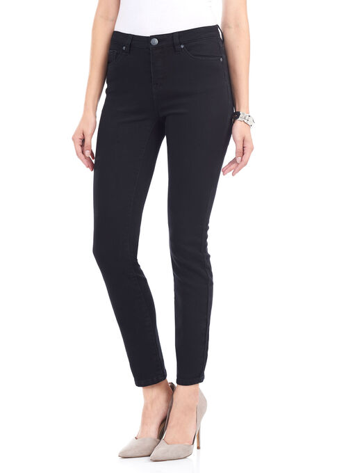 Tummy Control Slim Leg Denim Pants , Black, hi-res