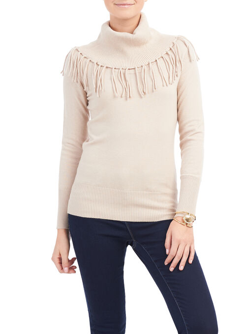 Cowl Neck Fringe Sweater, Brown, hi-res