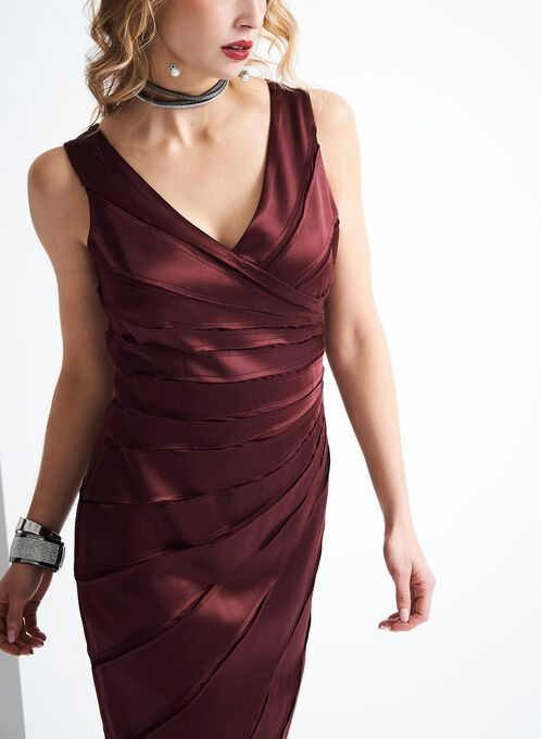 Chetta B V-Neck Satin Dress, Red, hi-res