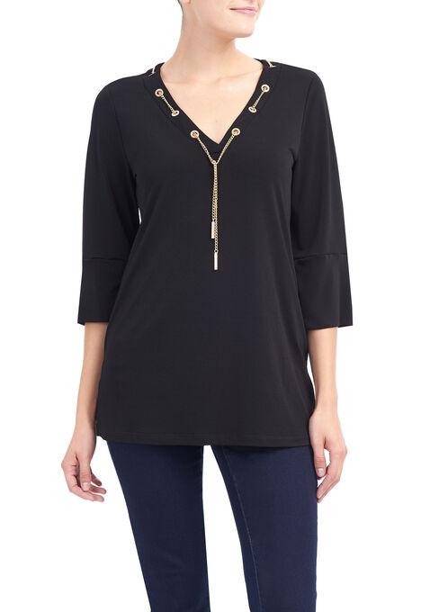 3/4 Sleeve Chain Trim Tunic Top, Black, hi-res