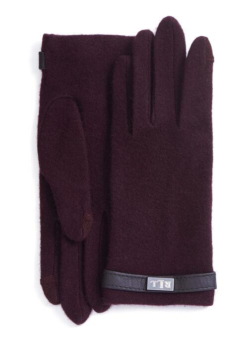 Wool & Cashmere Belted Gloves, Red, hi-res