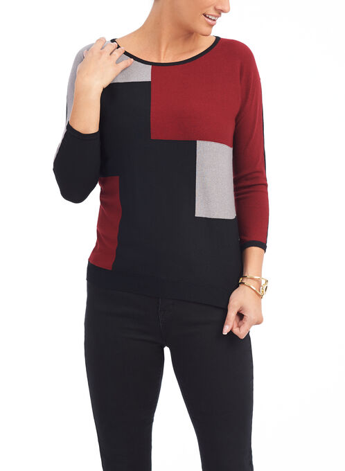 3/4 Sleeve Knit Sweater, Black, hi-res