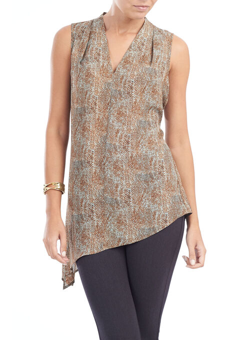 Asymetric Sleeveless Printed V-Neck Blouse, Brown, hi-res