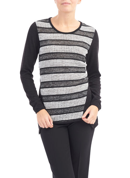 Linea Domani Textured Sweater, Black, hi-res