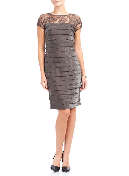 Maggy London Shimmer Layer Dress, Brown, hi-res