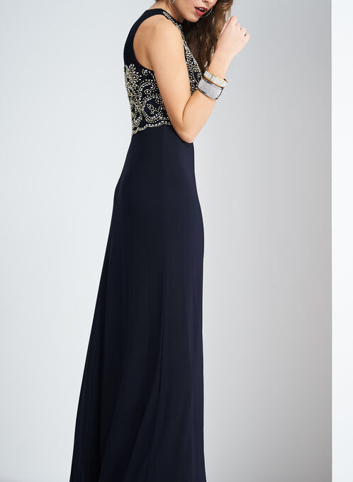 Cachet Beaded Bodice Dress, Blue, hi-res
