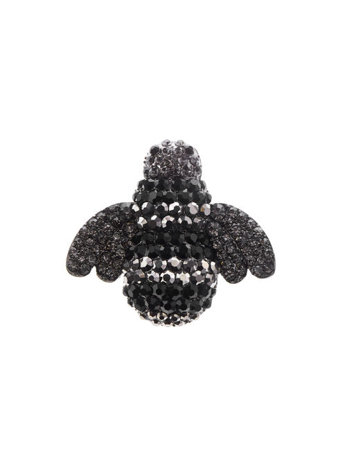 Bumble Bee Crystal Pin, Black, hi-res